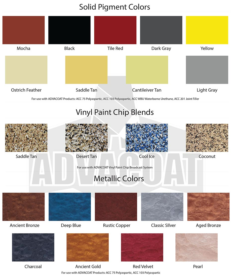 rochester garage floor coatings polyaspartic color chart